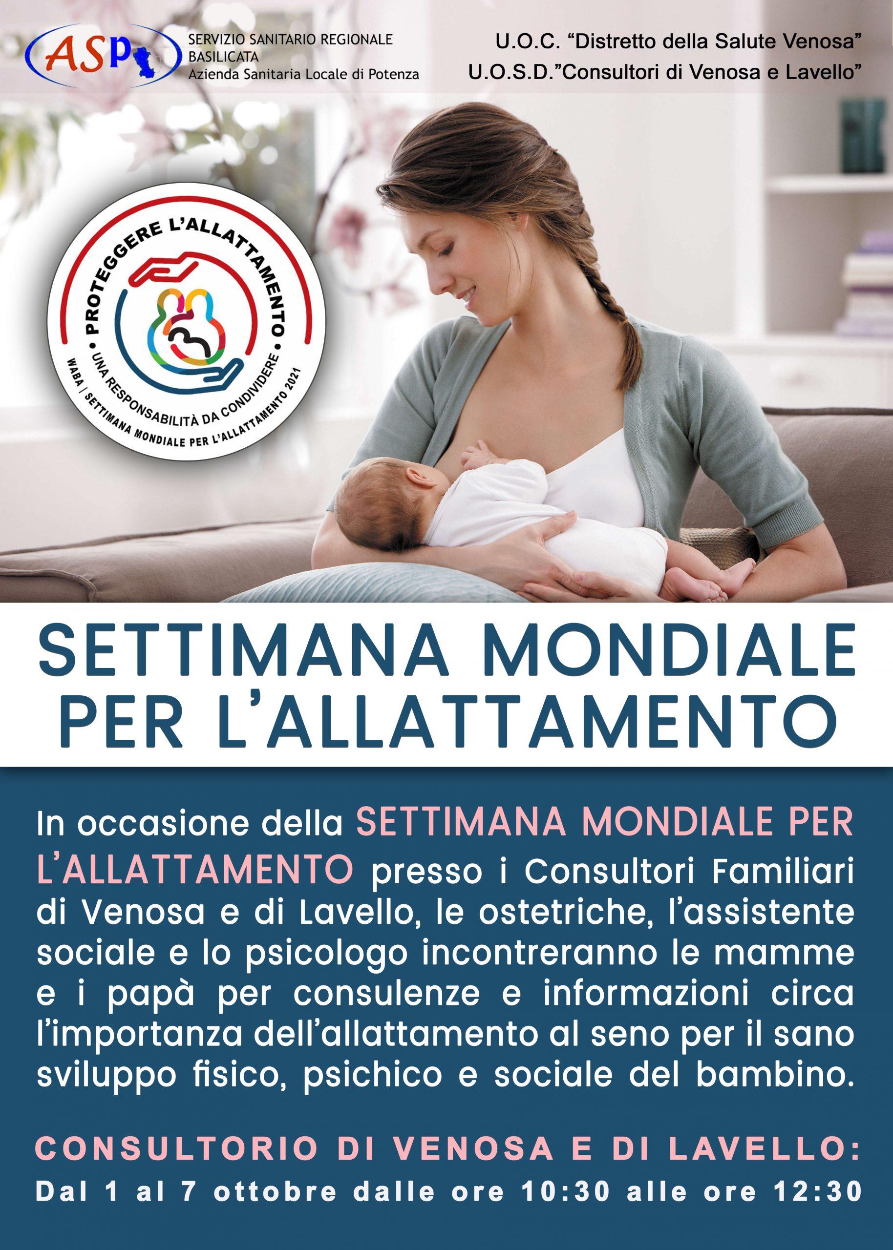 manifesto Consultori Familiari Venosa e Lavello Settimanza Mondiale Allattamento